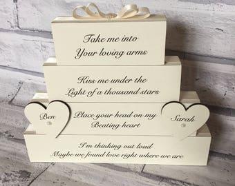 Kiss me ed sheeran etsy thinking out loud first dance song wedding lyrics personalised with names ed sheeran blocks stack stopboris Images