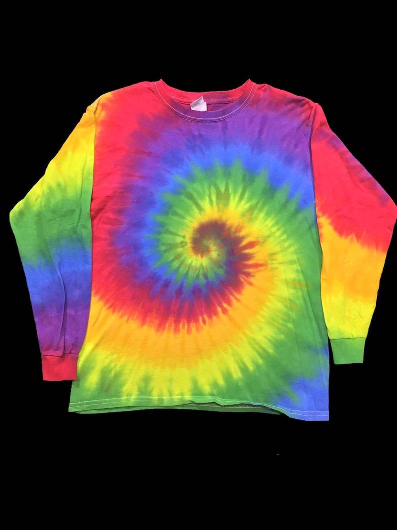 Rainbow Tie Dye Kids Long Sleeve Shirt Tie Dye Long Sleeve Etsy