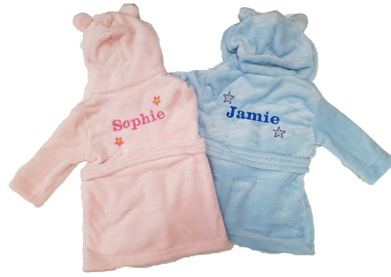 Details about  /Embroidered Personalised Baby Bath Robe Dressing Gown Boy Girl Gift Crown Soft