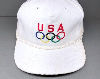 73870403329 80s USA OLYMPICS corduroy hat strap back made in usa new old stock vintage  nba basketball sports athletics polo sport sports specialties