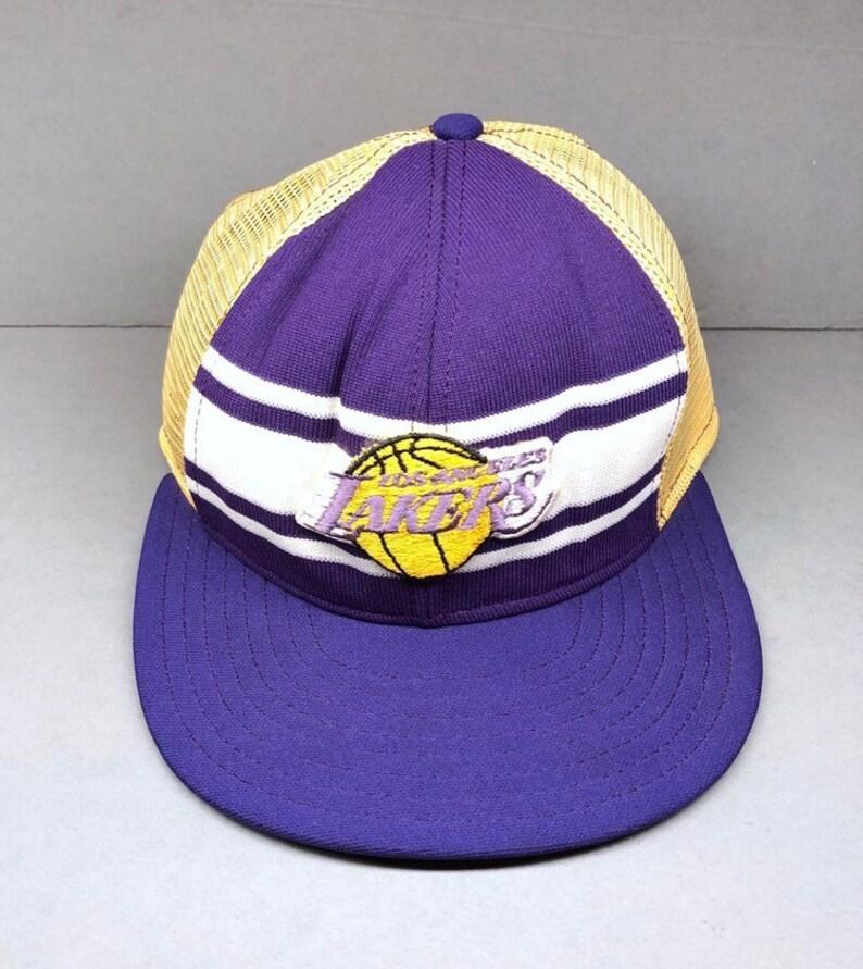 80s LOS ANGELES LAKERS trucker hat vintagw snapback aja made in usa magic  johnson champions 1980s lakers nba 70s
