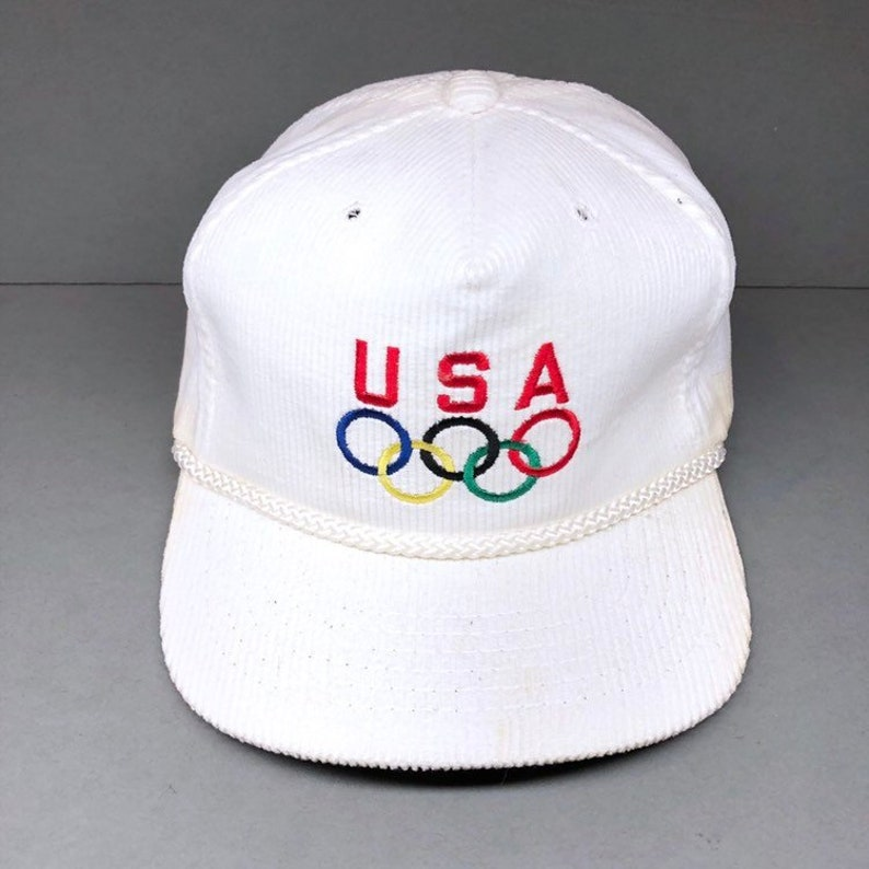 7faaaa6be61 80s USA OLYMPICS corduroy hat strap back made in usa new old