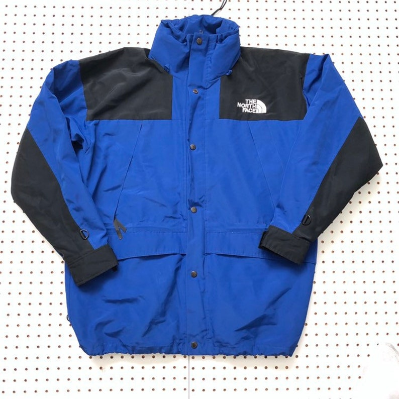 430a13501 90s THE NORTH FACE mountain light jacket large tnf steep tech gore tex  royal blue 90s blue ski snow winter coat vintage the north face