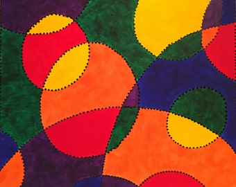 R.O.Y.G.B.P. (red, orange, yellow, green, blue & purple), abstract acrylic painting, 16x20
