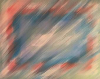 "5 - Aqua, peach & silver shimmer, abstract acrylic painting, ""Hidden Rectangles"", 14x18"