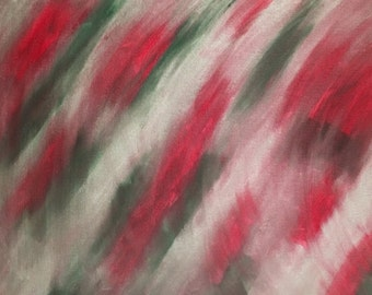 23 - Silver shimmer, red & green, abstract acrylic painting, 16x20