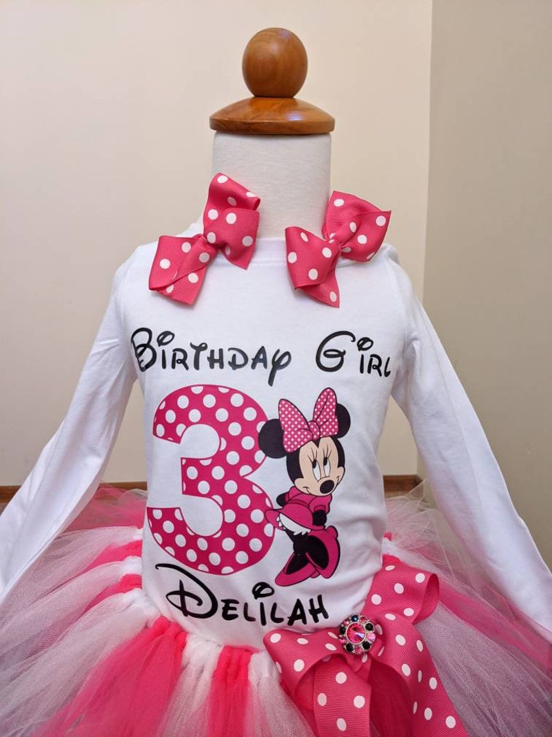 Personalized Minnie Mouse Birthday Tutu Outfit With Minnie Mouse Ears or Matching Bows