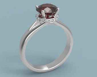 14k Garnet Engagement Ring White Gold Garnet Ring Garnet Halo Ring Garnet Diamonds Ring January Birthstone