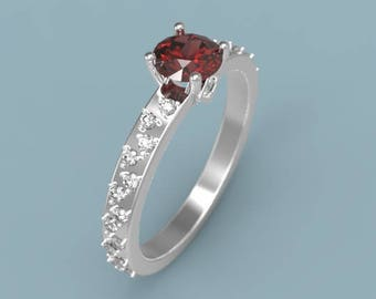 Garnet Engagement Ring White Gold Garnet Ring Garnet Halo Ring Garnet Diamonds Ring January Birthstone