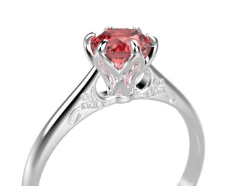 White Gold Ruby Engagement Ring White Gold Engagement Ring Ruby Ring 14k Ruby Engagement Ring Ruby Diamonds in White Gold Ring
