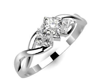 Cat Engagement Ring 14k White Gold Cat Ears Engagement Ring Etsy