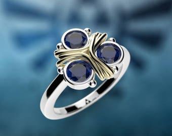 Zelda Triforce Inspired 14k Gold Engagement Ring Nintendo