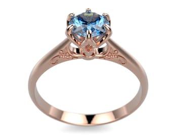 Blue Topaz Engagement Ring Solid Rose Gold Engagement Ring Blue Gemstone Engagement Ring Gold Blue Topaz Ring December Birthstone