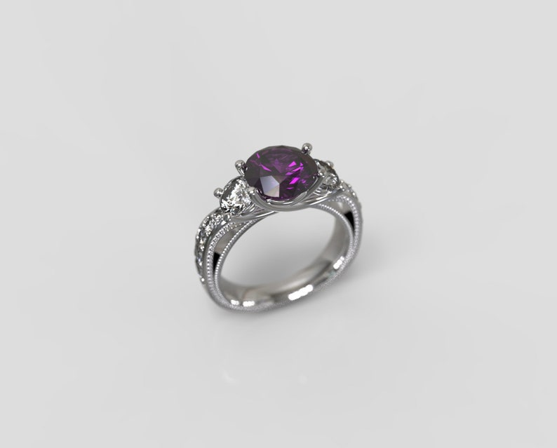 Amethyst Engagement Ring  Silver Amethyst Ring Sterling Silver Engagement Ring February Birthstone Ring Engagement Ring Amethyst