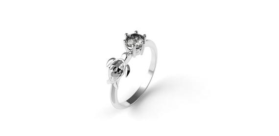 Turtle Engagement Ring 14k White Gold Nautical Engagement Ring Etsy