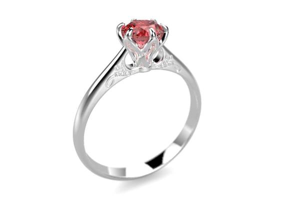 White Gold Ruby Engagement Ring White Gold Engagement Ring Etsy