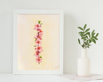 Japanese Cherry Blossom Oil Painting Print, Floral Oil Painting, Botanical Flower Oil Painting