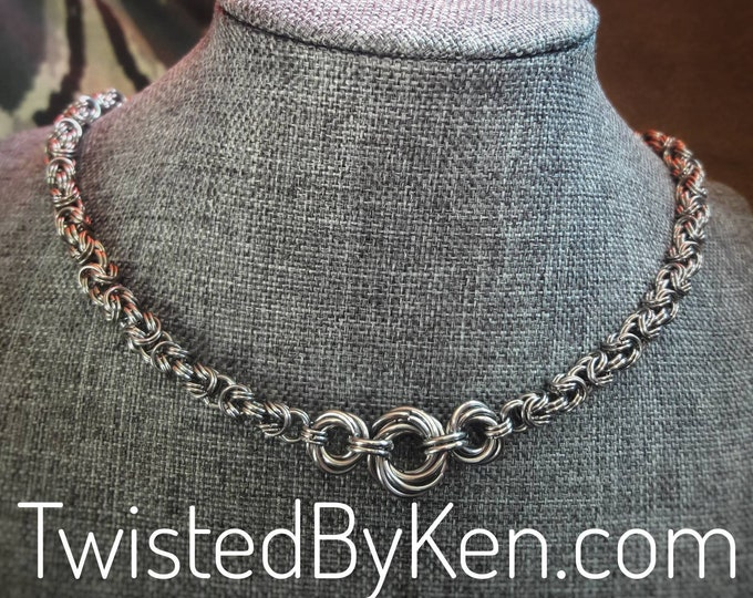 Handmade, Dense Byzantine Weave, Stainless Steel Chain Maille Necklace, 3 Rosette Focal 20in, Sizeable On Request, Free Shipping, #TBK121518