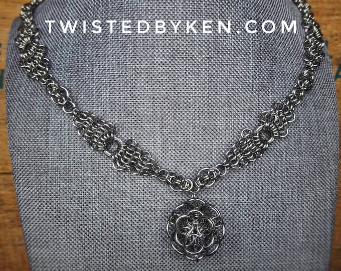 Handmade Necklace, Chain Maille Rose Pendant, Stainless Steel, Triangular European Weave Chain Mail, Free Shipping, Free Sizing #TBK112218