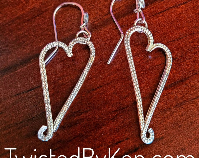 Hand Fabricated Textured Stylized Heart Earrings Made From Round Sterling Silver Wire 2in Drop Handmade  Ear Wires TwistedByKen TBK022721