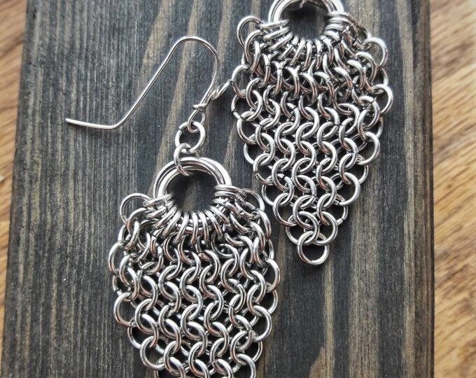 Handmade, Stainless Steel, European Sheet Weave Chain Mail Earrings & Ear Wires, Chandelier Style, Free Shipping, TwistedByKen, TBK#111118