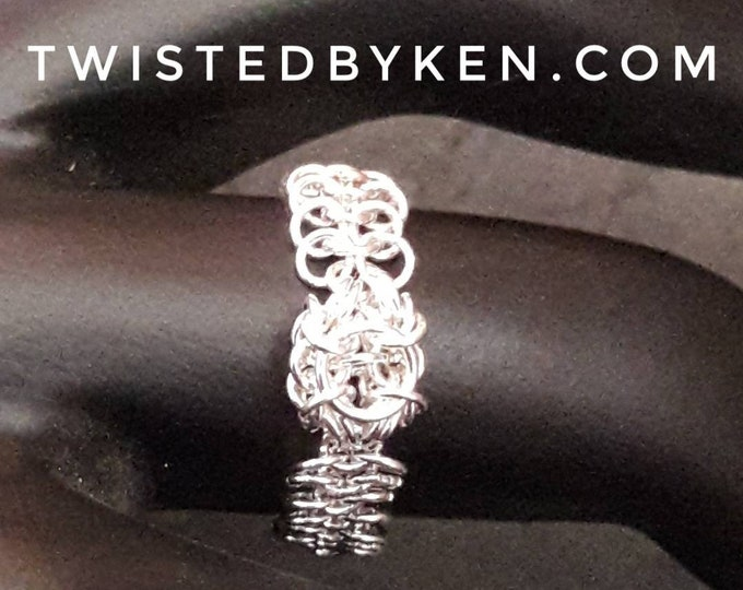 Handmade Micro Maille Ring, Welded 24ga Sterling Silver Links, Byzantine Knot Focal, European Weave Band, Size 10 Free Shipping TBK080620