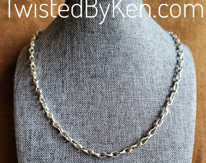 Handmade 22in Sterling Silver Anchor Chain, Adjustable, Versatile, Useable as Necklace, Bracelet Or Anklet ,Soldered Links TBK060621