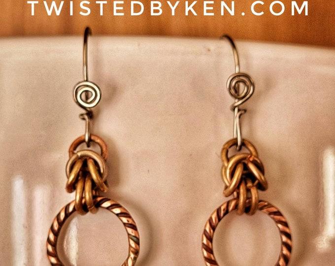 Antiqued Copper, Handmade, 1.5in, Drop And Dangle Chain Maille Mini-Hoop Earrings, Handmade Stainless Steel Ear Wires TwistedByKen TBK012321