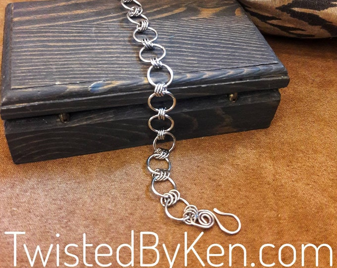 Handmade Stainless Steel, Japanese Style Lg Chain Maille Charm Bracelet, Handmade Clasp, 7in, Sizeable Upon Request Free Shipping #TBK121618