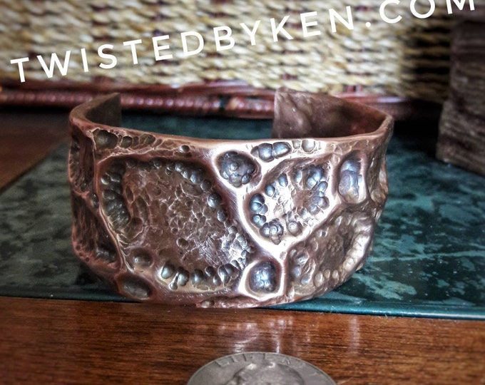 Air Chased, Antiqued Reclaimed Copper Cuff Bracelet, Handmade, Size 7-7.5 x 1.25 Inches, Free Shipping, Satisfaction Guarantee. #TBK092918
