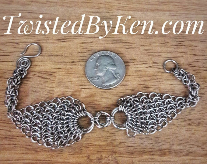 Handmade Stainless Steel Bracelet, 7.5in, 19ga Byzantine Chain, European Weave, Chain Maille, Rosettes Free Shipping, Free Sizing #TBK111518