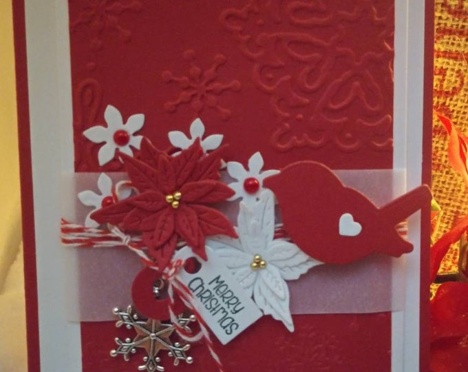 Red Handmade Christmas Card, Dimensional Bird & Poinsettias With Snowflake Charm 4.25× 5.5 Free Shipping Eligible