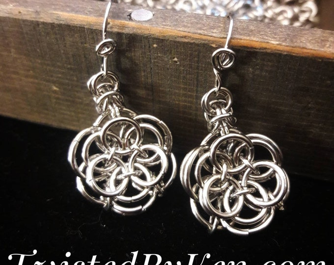 Stainless Steel, Handmade Helms Weave, Chain Maille, 3 Dimensional Rose Earrings, Handmade Ear Wires, Free Shipping, TwistedByKen, TBK112317