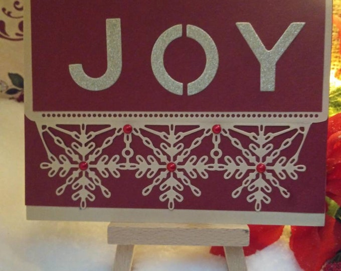 Handmade Card, Glitter Textured Gold JOY On Red With Snowflake Underscore, 5×7. Free Shipping Eligible