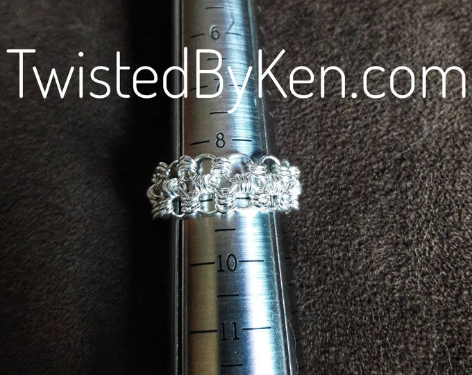 Handmade Micro Maille Ring, Welded 22ga Sterling Silver Links, Japanese Weave, Size 9, Free Shipping, Satisfaction Guarantee TBK081420