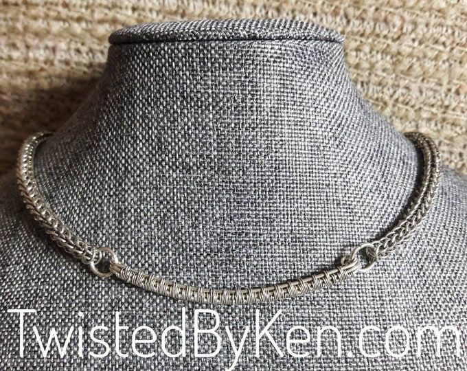 Handmade Full Persian Weave Sterling Silver Necklace, 18.5in, 2.5in Woven Wire Focal, Hand Fashioned Clasp,Free Standard Shipping TBK081320