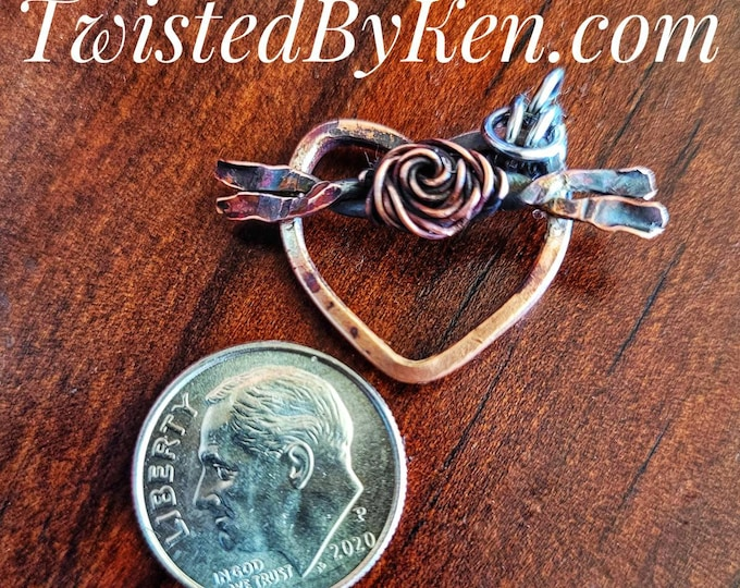 Handmade Antiqued Floral Heart Shaped Pendants/Charms Made From Copper Pennies and Copper Wire, TwistedByKen, TBK031121