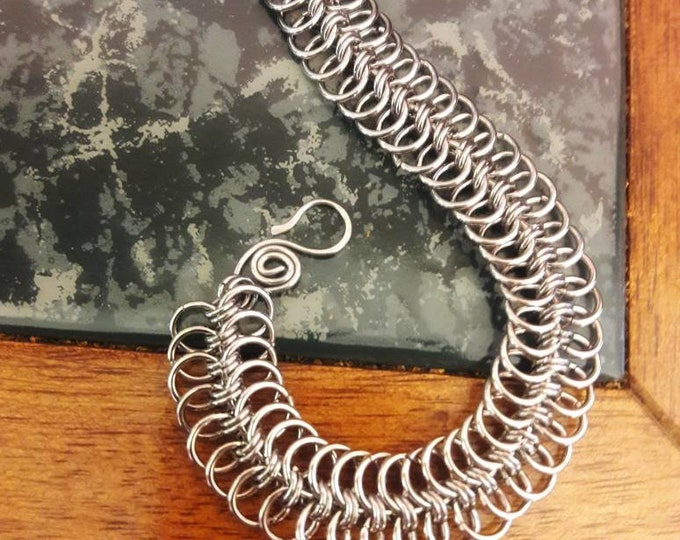 Handmade Modified European Weave Stainless Steel, Chain Mail Bracelet 17ga 7.5in Free Shipping & Sizing On Request TwistedByKen #TBK121718