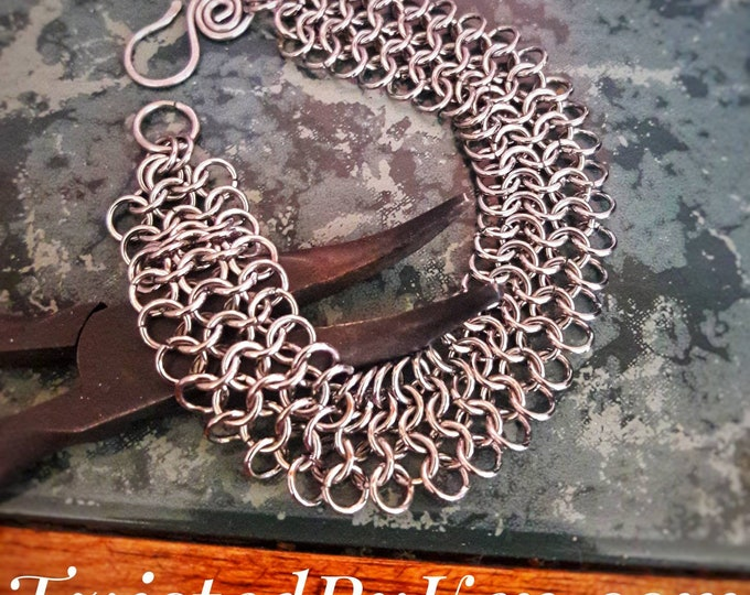 Handmade 4in1 European Weave Stainless Steel, Chain Mail Bracelet 20 Gauge 7x.75in Free Shipping & Sizing On Request TwistedByKen TBK#081518