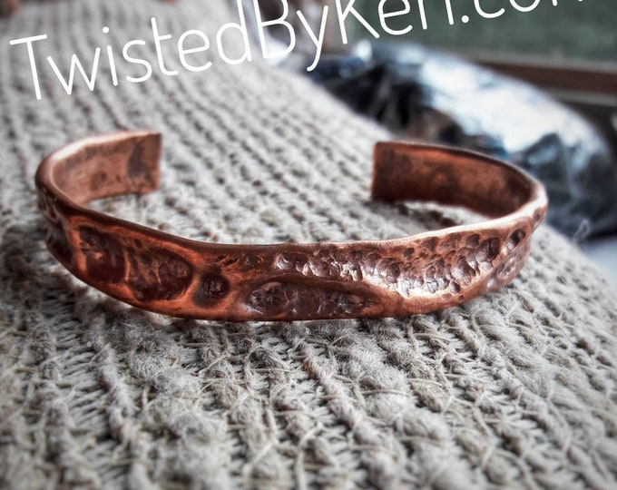 Copper Cuff Bracelets, Handmade, Hammered Air Chasing, Antiqued Copper, Natural Patina, Sizes 6-8, 0.5in Width, Free Shipping #TBK092718