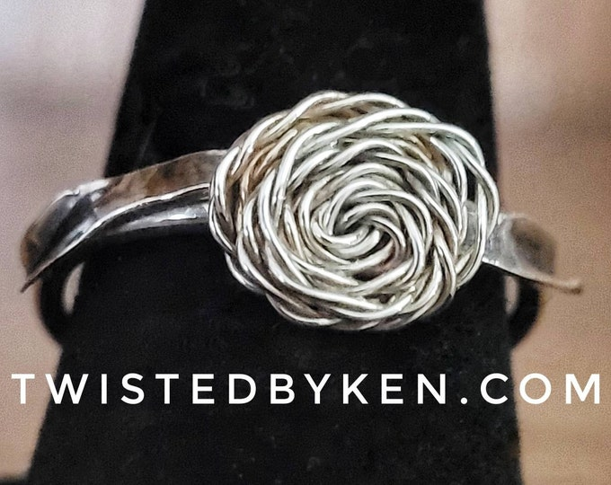 Handmade Sterling Silver Rose  With Leaves, Stacking Ring, Made From 16 & 24 Gauge Silver Wire, Twisted By Ken, TBK032721