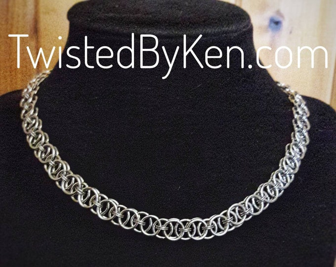 Handmade, Stainless Helms Weave Chain Maille, Necklace 18 Inches, Hand Fashioned Clasp, Free Standard Shipping, Sizing On Request #TBK092818