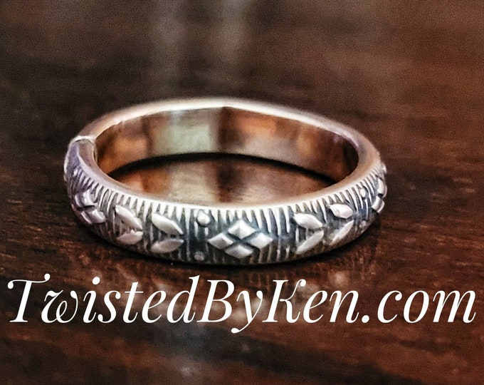 Handmade, Double Leaf Patterned, Antiqued Copper Ring, Stackable, Fashioned From 8 Gauge Wire. 4mm, 5/32nds Wide Twisted By Ken TBK051021