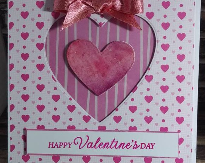 Handmade Valentine Day Card With Inked Floating Heart, White And Pink, 6in × 6in.