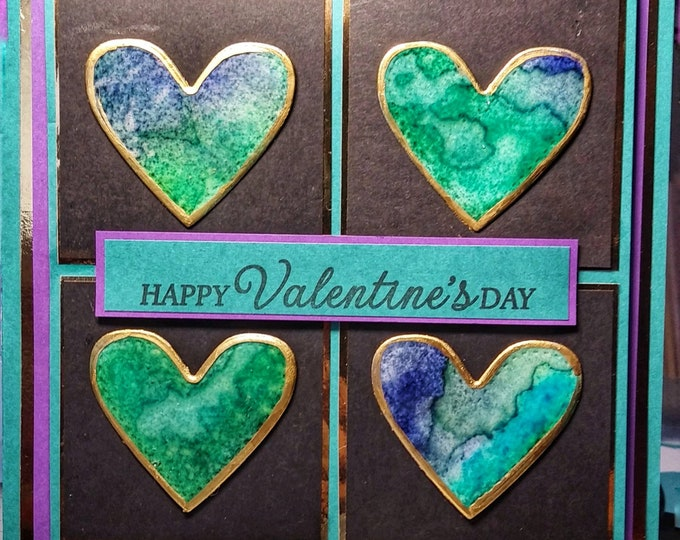 Handmade Valentines Day Card, Handmade Inked Hearts Edged In Gold Paint On Black & Blue Back Ground. 5-3/4in x 5-3/4in