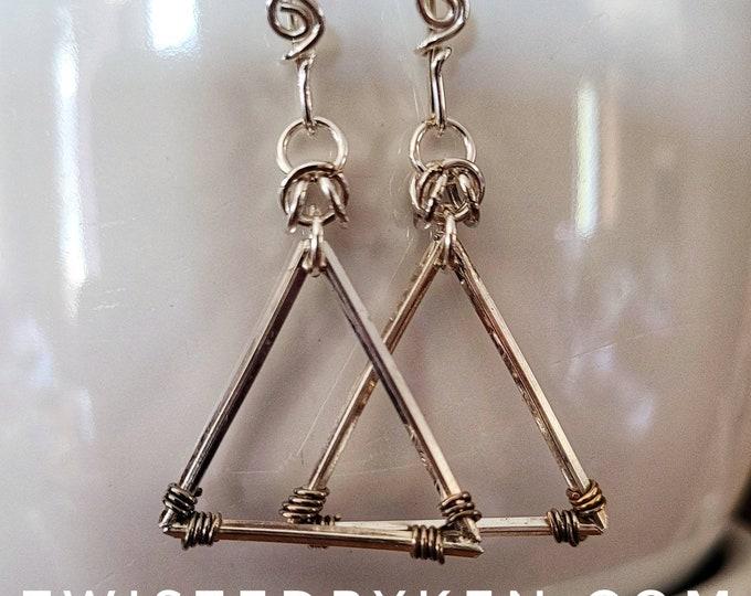 Handmade 1.5in Dangle Style Sterling Silver Triangle Earrings, Made From Wire, Handmade French Hook Earwires TwistedByKen TBK032021