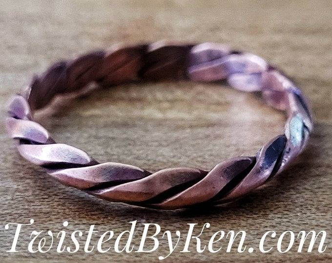 Handmade, Antiqued Copper Ring, Stackable, Twisted Triple Strand Milled Wire. Twisted By Ken TBK032621