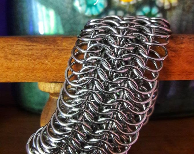 Handmade 17ga Stainless Steel 8 In 1 European Weave Chain Mail Bracelet, 8.5L x 1.5W Free Shipping & Free Sizing On Request TBK#080718