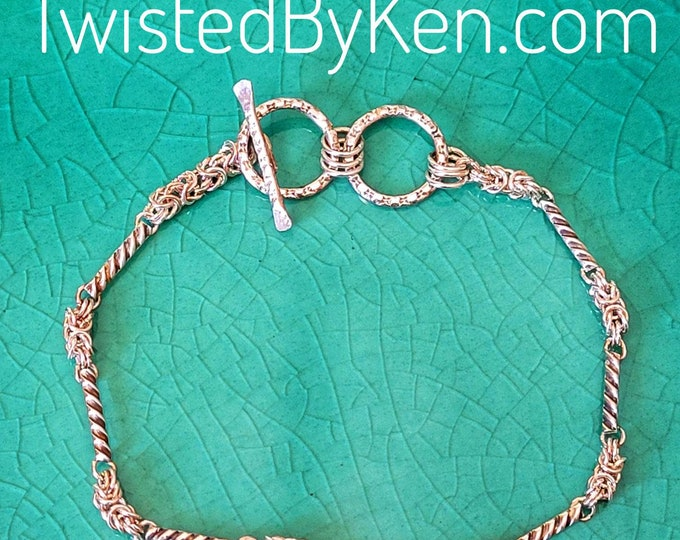 Handmade Decorative Links & Byzantine Weave 24ga Sterling Silver Bracelet, 7 - 7.5in Free Shipping. Sizing On Request TwistedByKen TBK020121