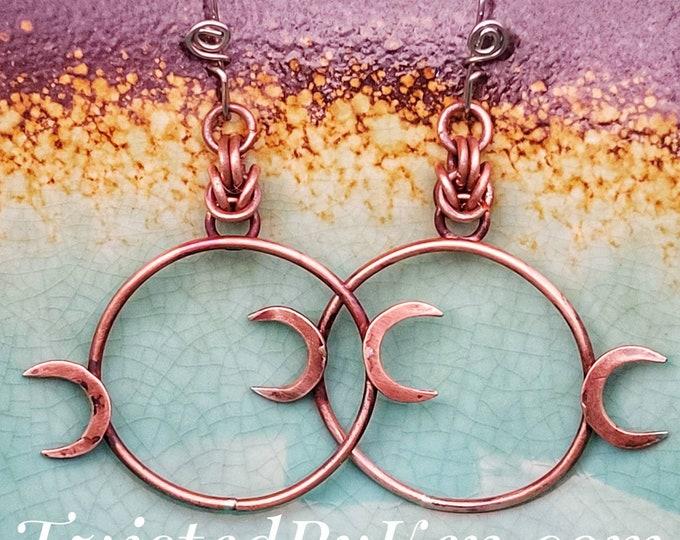 Handmade, Antiqued, Goddess/Moon, 2in Drop, 1in Hoop Earrings, Handmade Stainless Steel Ear Wires TwistedByKen TBK032121